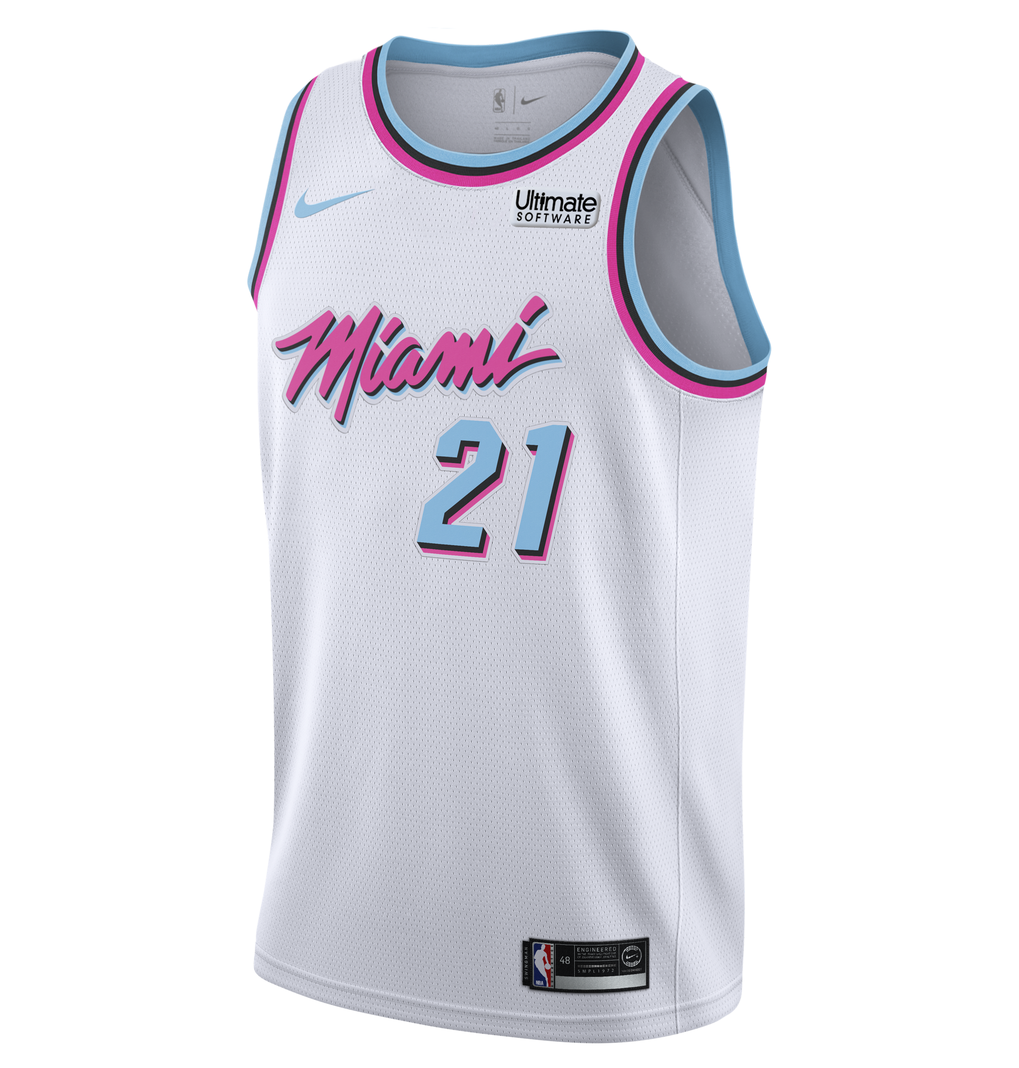 016c0b63c Hassan Whiteside Nike Miami HEAT Vice Uniform City Edition Swingman Jersey  - featured image