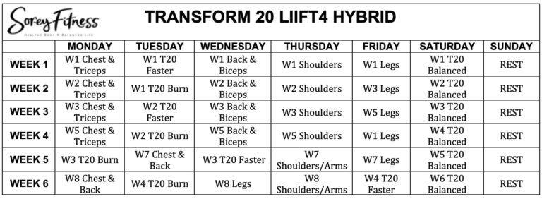 Transform 20 LIIFT4 Hybrid Calendar   Workout calendars   Workout