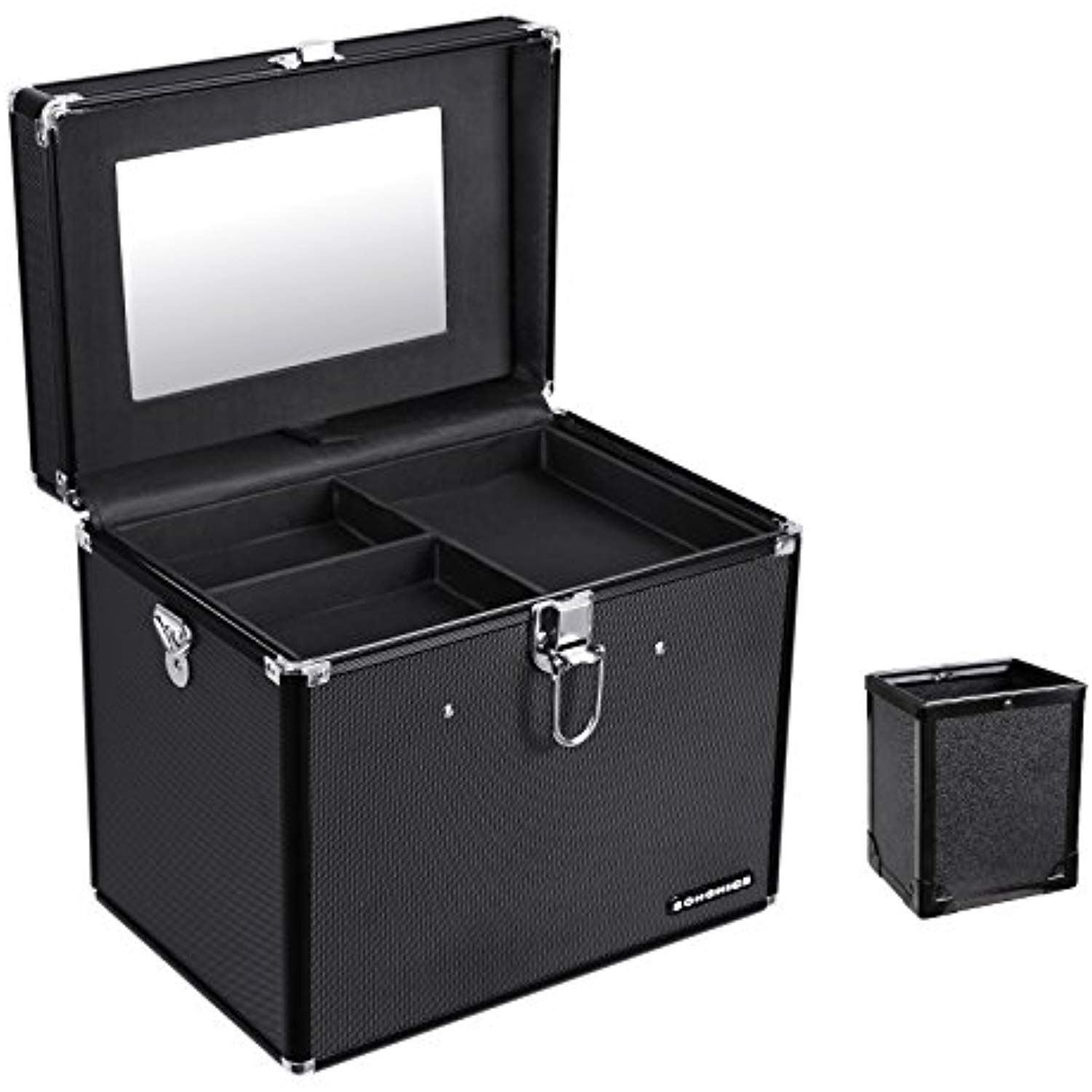 SONGMICS Makeup Train Case with Mirror and Brush Pot