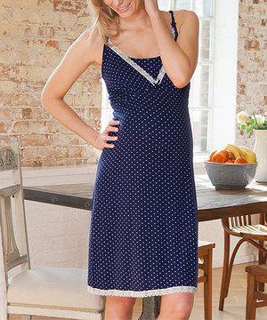 45a08a5fa05 Loving this JoJo Maman Bébé Navy   White Polka Dot Maternity   Nursing  Nightgown on  zulily!  zulilyfinds