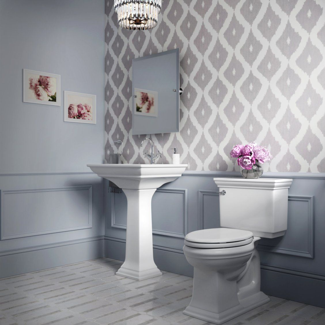 Neutral Colors For Small Powder Rooms: This Sophisticated Powder Room Contains Clean Lines And A