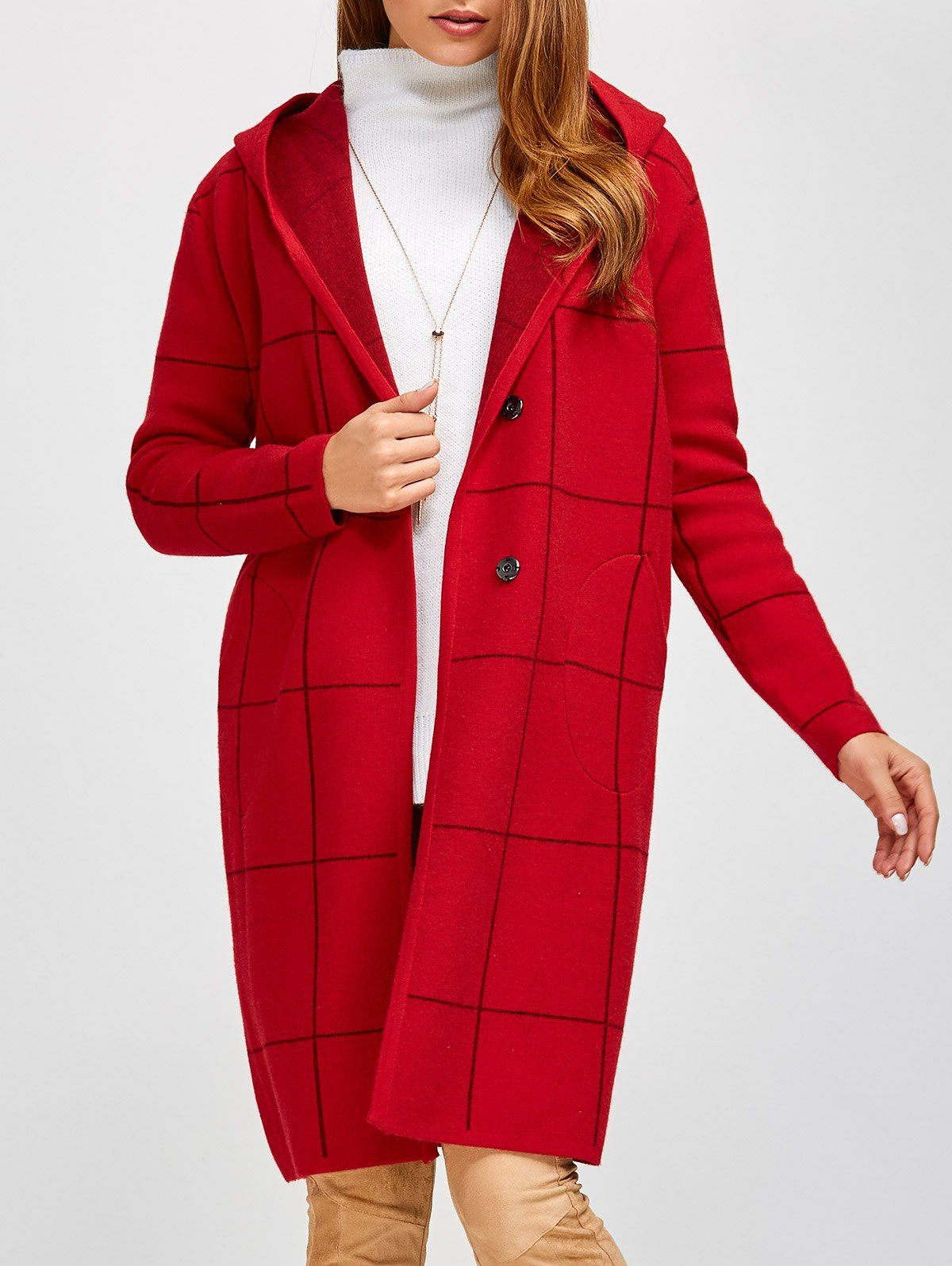 Open Front Plaid Fleece Hooded Cardigan in Red | Sammydress.com ...