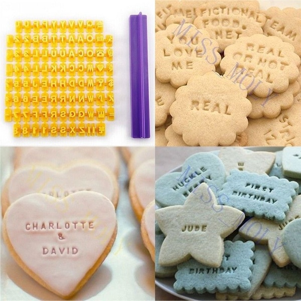 Mold 72pcs Letters Set Cookie Biscuits Number Cake Accessories Pastry DIY Stamp Kit Baking Tool Decorating Fondant Party