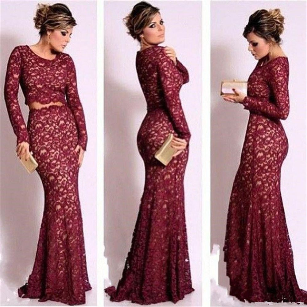 Dark Red Two Piece Lace Prom Dresses Mermaid Long Sleeve Formal ...