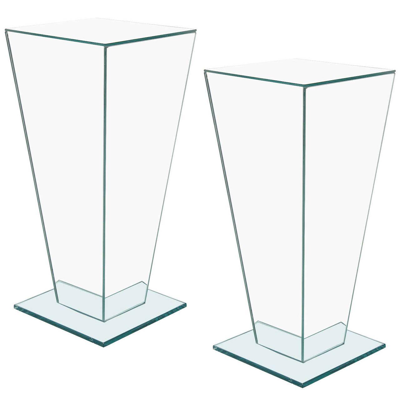 Pair of Sculptural Mid-Century Modernist Mirror and Glass Pedestals | From a unique collection of antique and modern pedestals and columns at https://www.1stdibs.com/furniture/building-garden/pedestals-columns/