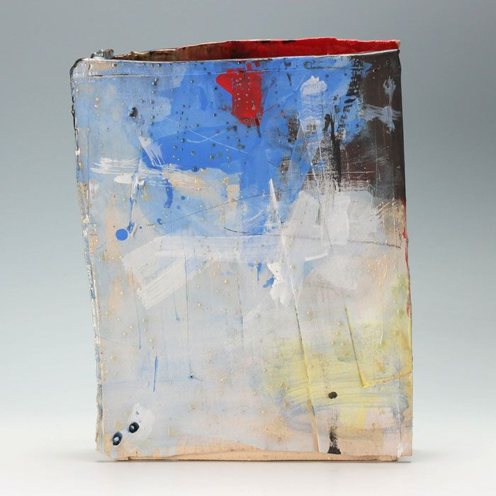 Slab vessel with blue and red -by Barry Stedman