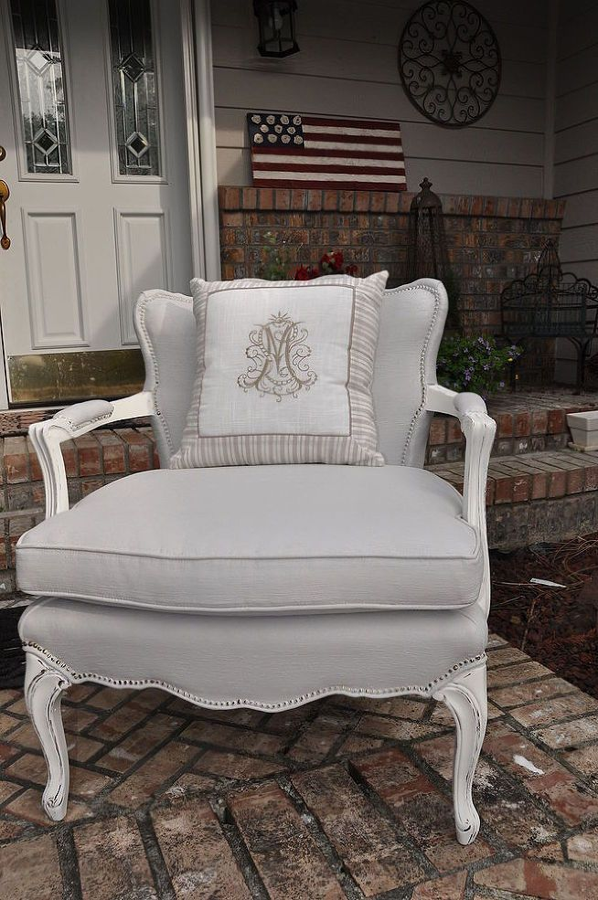 Elegant Gray Painted Fabric Chair