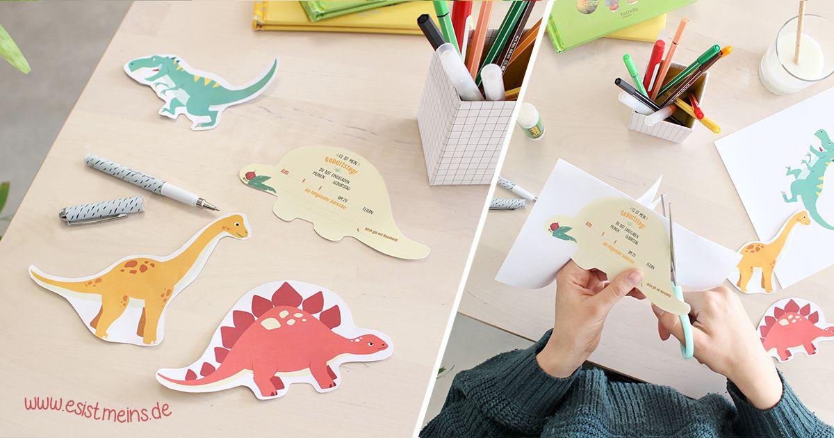 diy dinosaurier-einladungskarten geburtstag