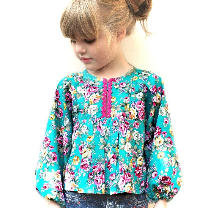 Poppy Tunic Top and Dress - PDF Sewing Pattern - Long sleeve girls ...
