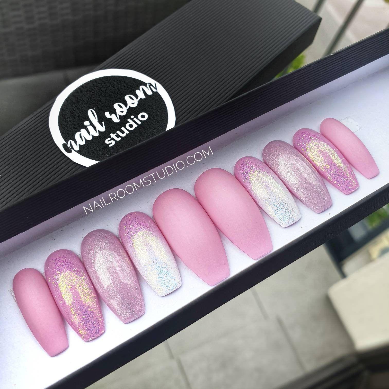 Mauve Multi Holo Unicorn Ombre Pink Violet 10 Long Press On
