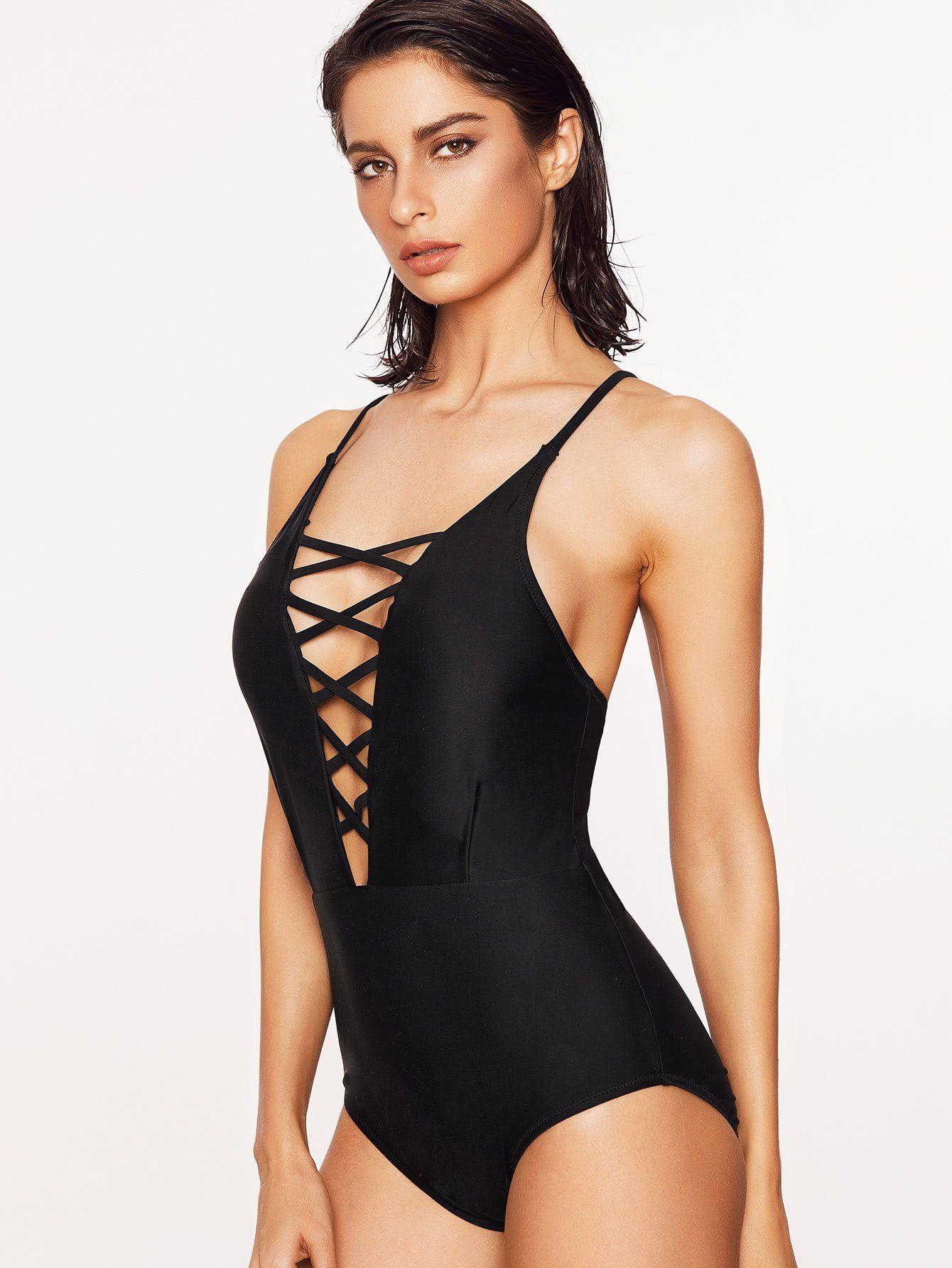 f974d15c9f Black Criss Cross Plunge Neck One-Piece Swimwear