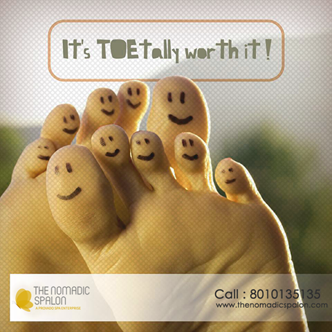 Happy feet, happy you !! Feeling low? Let us brighten up your day. www.thenomadicspalon.com