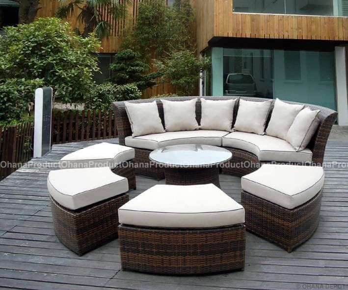 Details About Outdoor Patio Wicker Furniture 7pc Round Couch Set