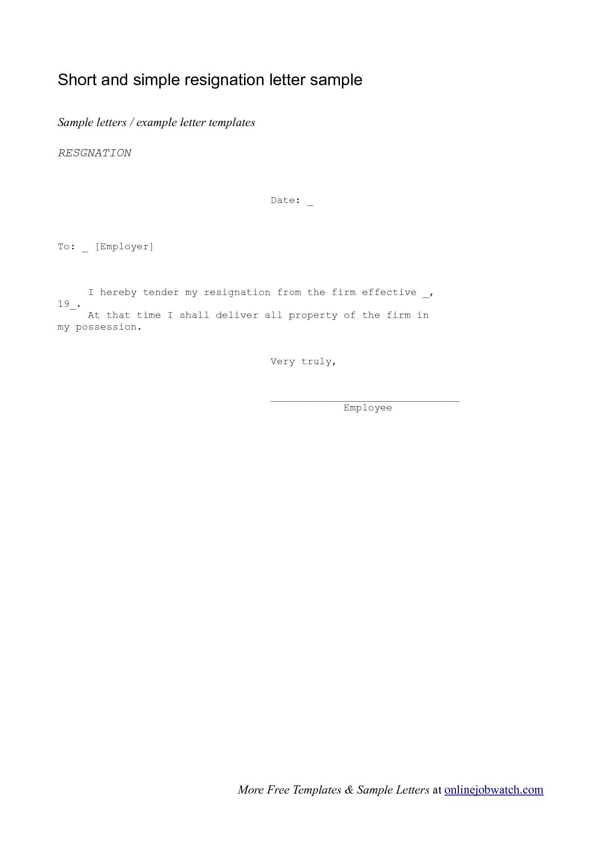 Simple Resignation Letter Sample  nit  Resignation