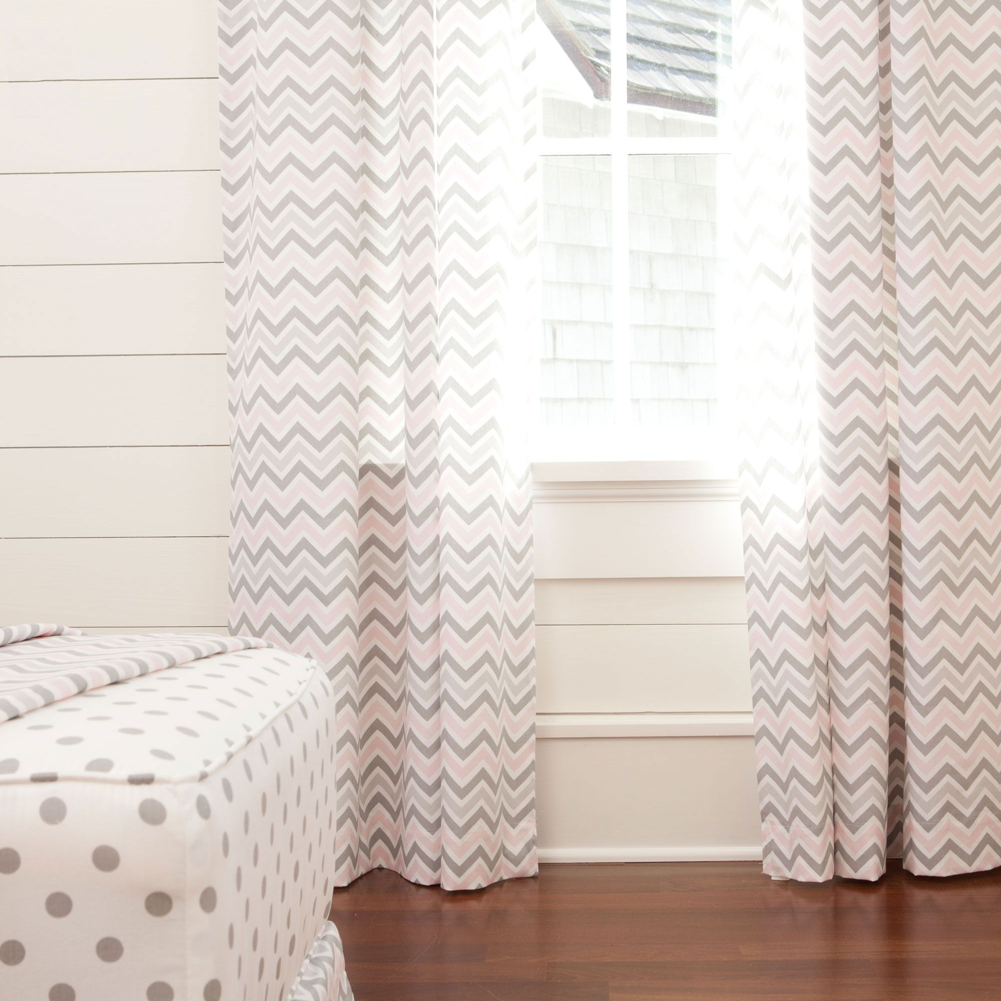 Drapery Panel In Pink And Gray Chevron By Carousel Designs