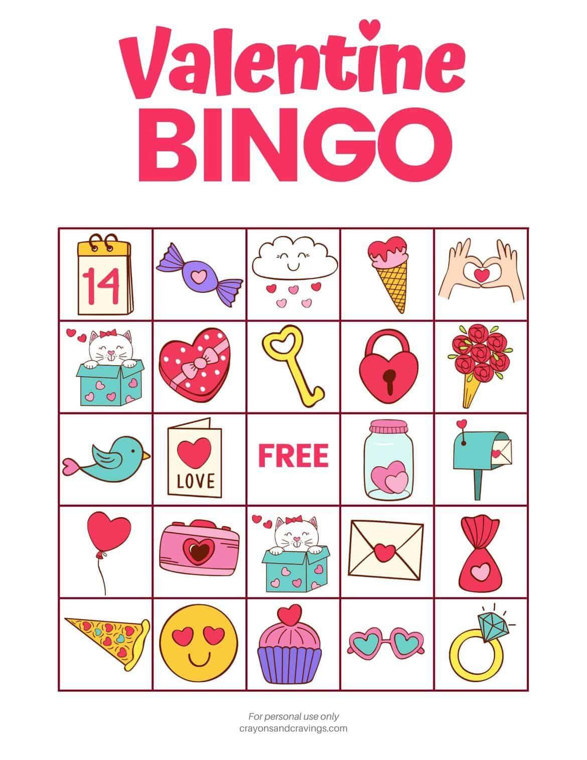 Valentine Bingo Game In