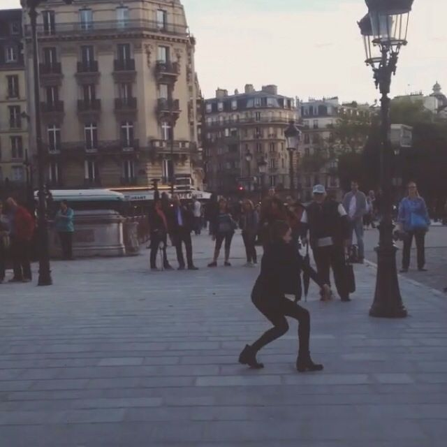 In Paris Chandelier came on and Maddie started dancing for the people