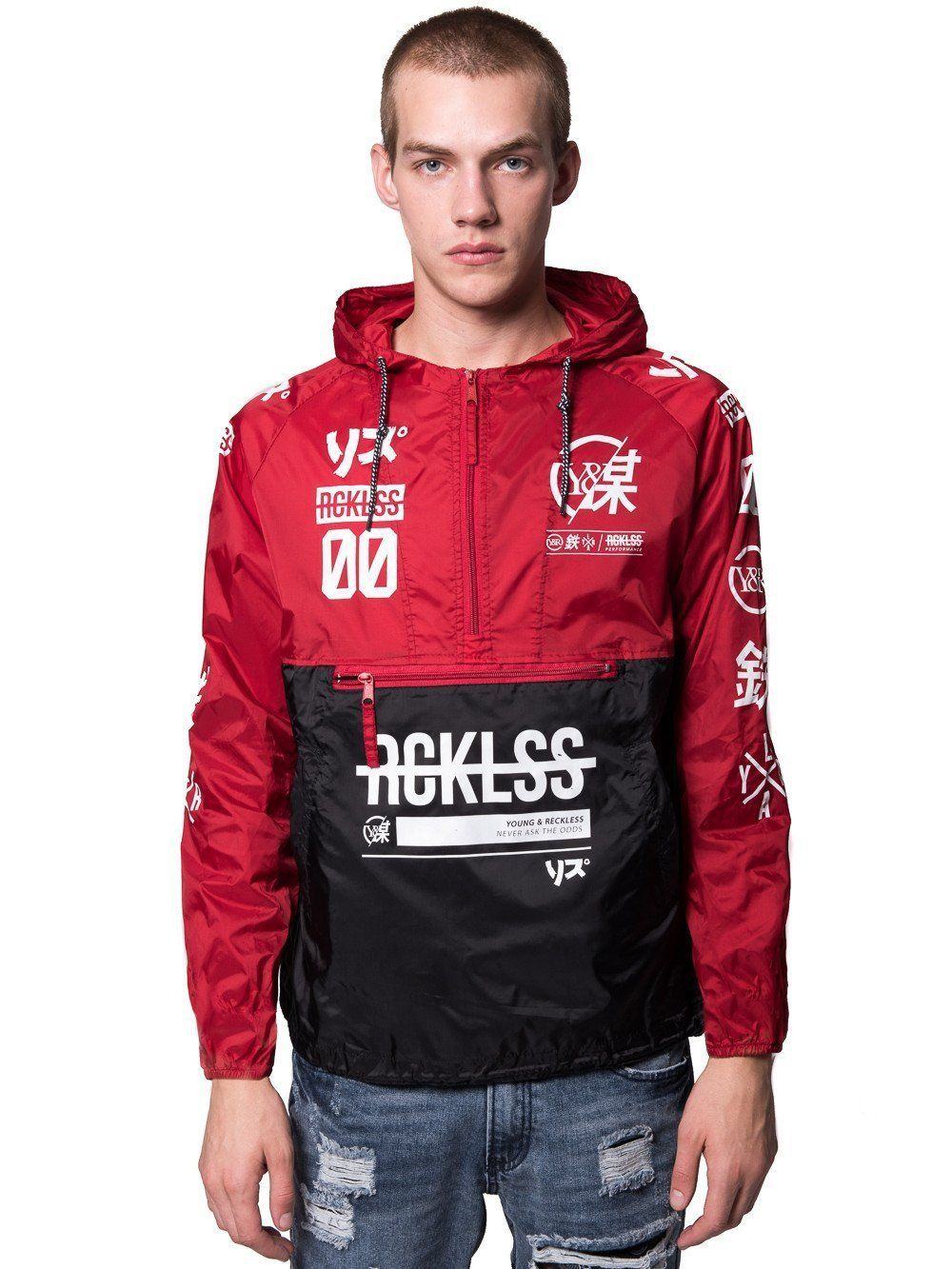 Young and Reckless Mens - Outerwear - Lightweight Jackets   Bombers Strike  Thru Windbreaker- Black Red White c5f01b718