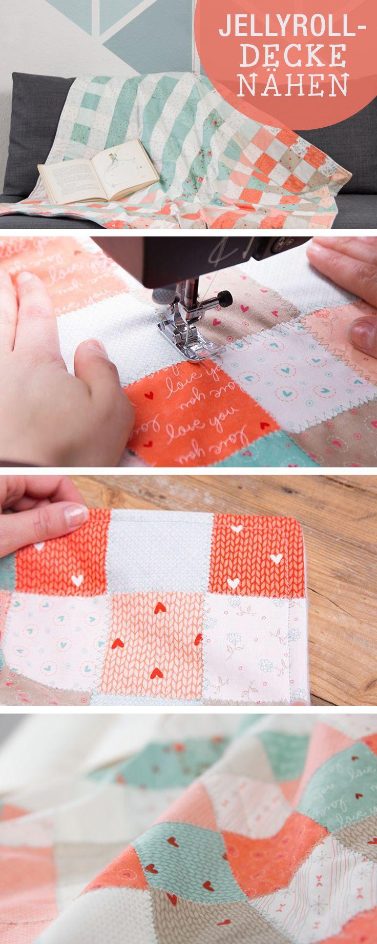 diy anleitung n he deine erste patchworkdecke diy tutorial how to sew a patchwork blanket. Black Bedroom Furniture Sets. Home Design Ideas