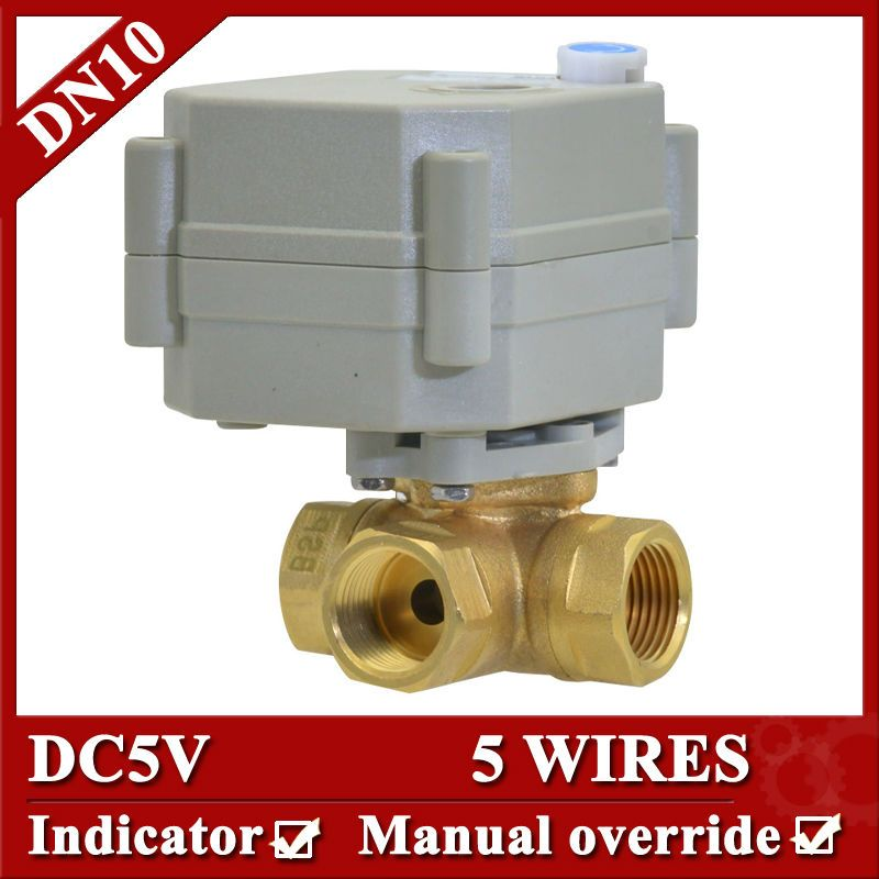 3 8 Brass 3 Way Electric Automatic Valve Dc5v Dn10 Electric Ball Valve 5 Control Wires For Radiator Heating Systems Water Heating Systems Valve
