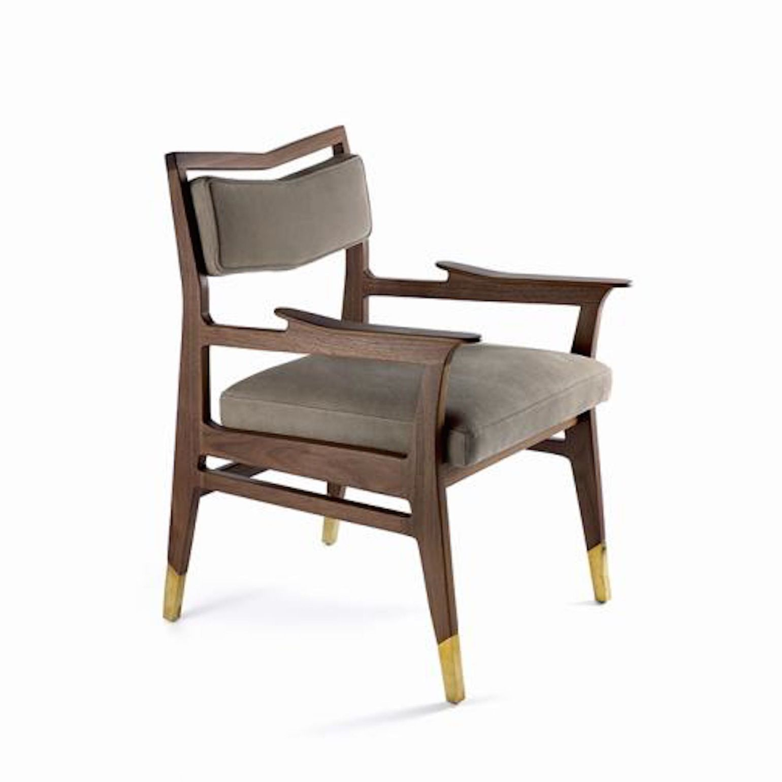 The Bruno Arm Dining Chair Traditional Transitional MidCentury Modern Contemporary Organic Upholstery Fabric Wood Room By Studio Van Den Akker