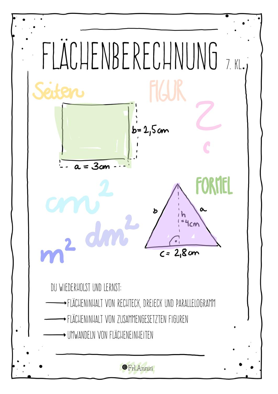 Flachenberechnung Rechteck Parallelogramm Dreieck Lernheft Unterrichtsmaterial Im Fach Mathematik In 2021 Lernheft Lernen Flacheninhalt