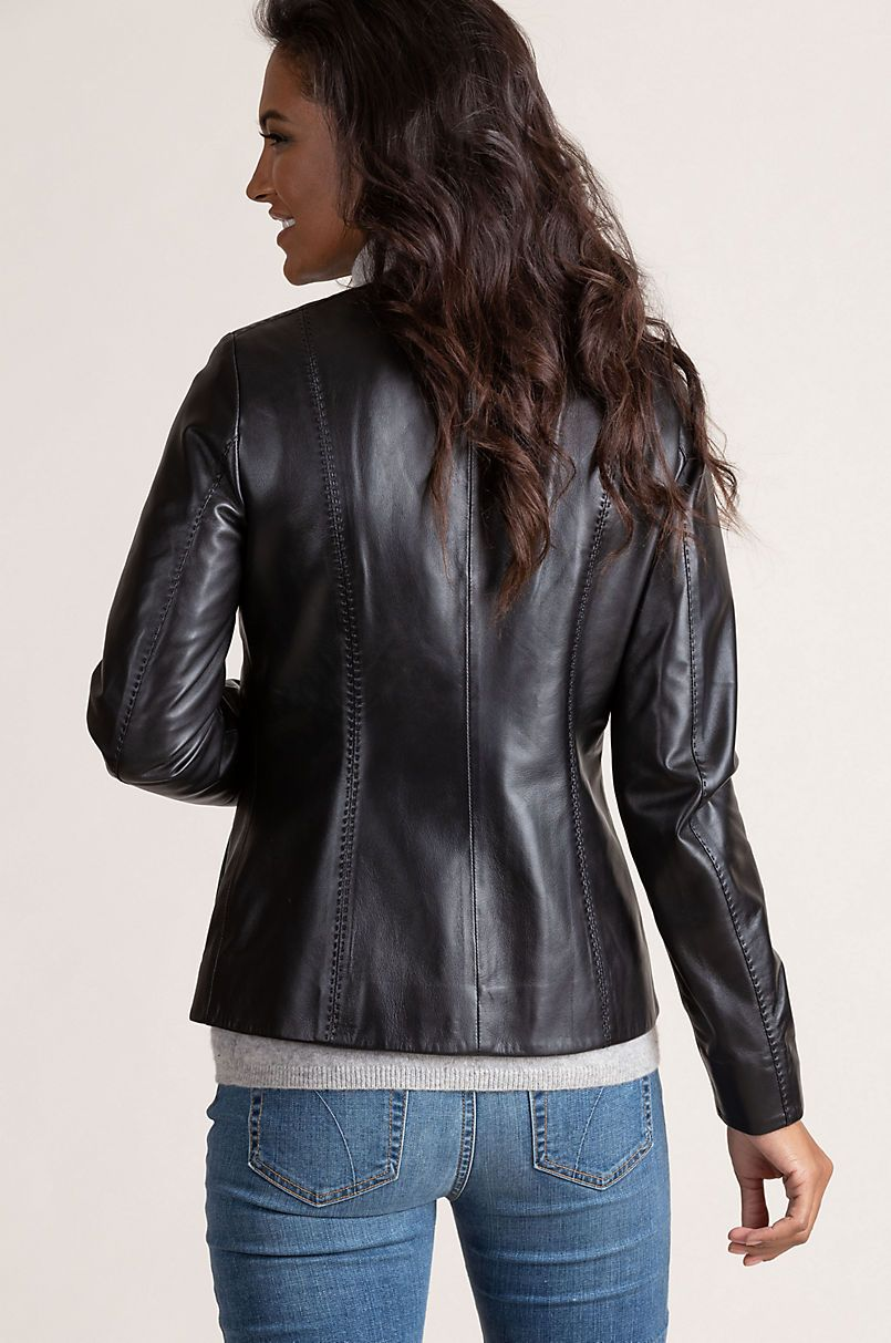 Alessandra Italian Lambskin Leather Jacket Overland