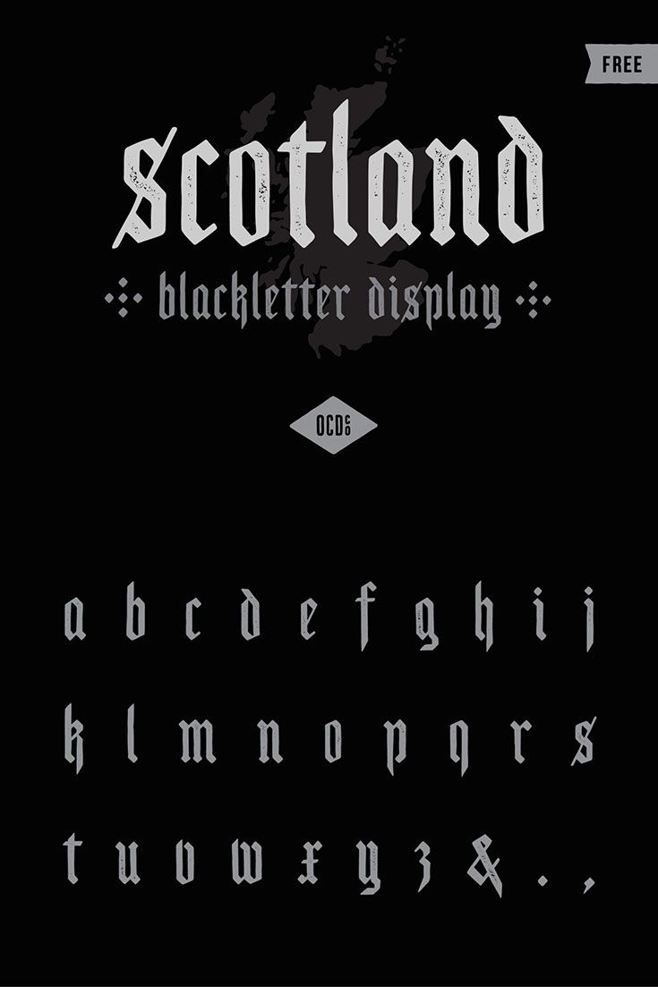 Calligrafia Old School Free Scotland Blackletter Display Font Fonts Grafici