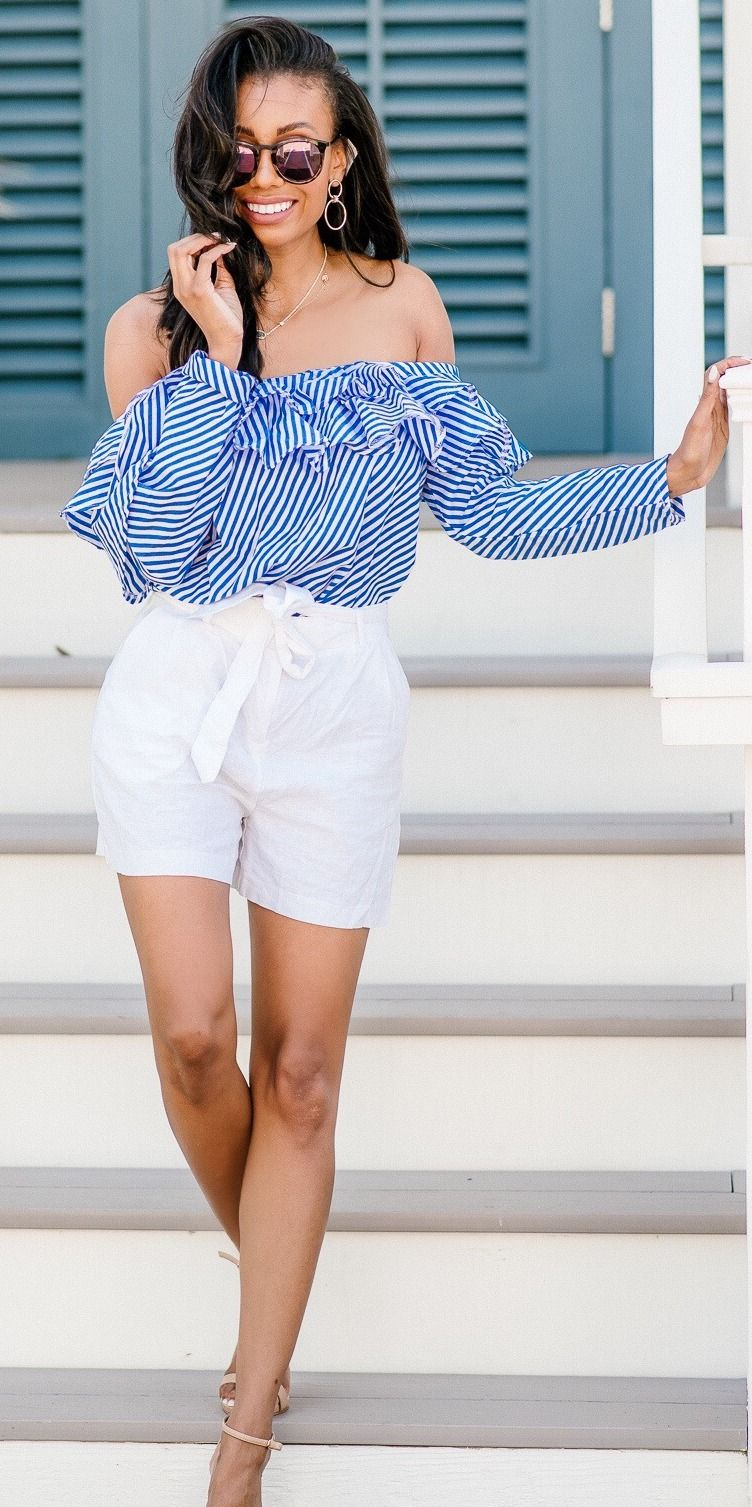 Off The Shoulder Ruffles And Linen Shorts D Is For Deiso Summer Shorts Outfits Striped Shorts Outfit Chic Outfits [ 1507 x 752 Pixel ]