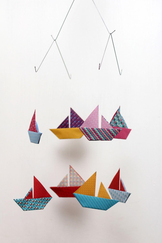 mobile en papier japonais 8 bateaux pinteres. Black Bedroom Furniture Sets. Home Design Ideas