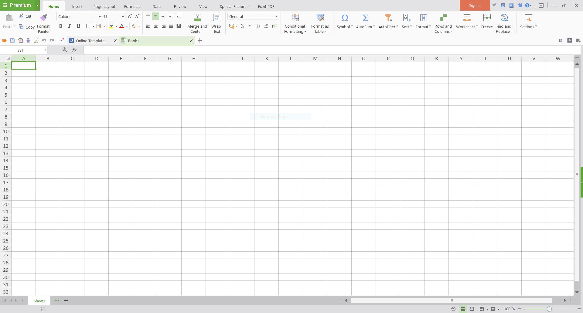 Screenshot of WPS Office 2016 Spreadsheet (Windows 10