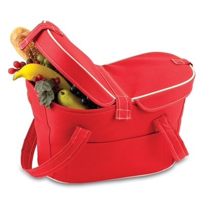 Mercado Basket #Cooler #Tote - Red.  The Mercado Basket combines the fun and romance of a basket with the practicality of a lightweight canvas tote. It's made of polyester with water-resistant PEVA liner and has a fully removable lid for more versatility. Take it to the farmers market, the beach, or use it in the car for long trips. Carry food or sundries to and from home, or pack a lunch for you and your friends or family to share when you reach your destination. #red