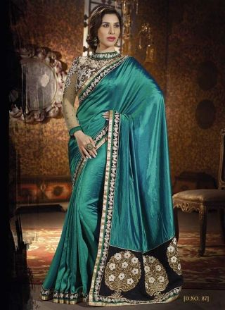 Delightful Teal Row Silk With Embroidery Work Fancy Saree