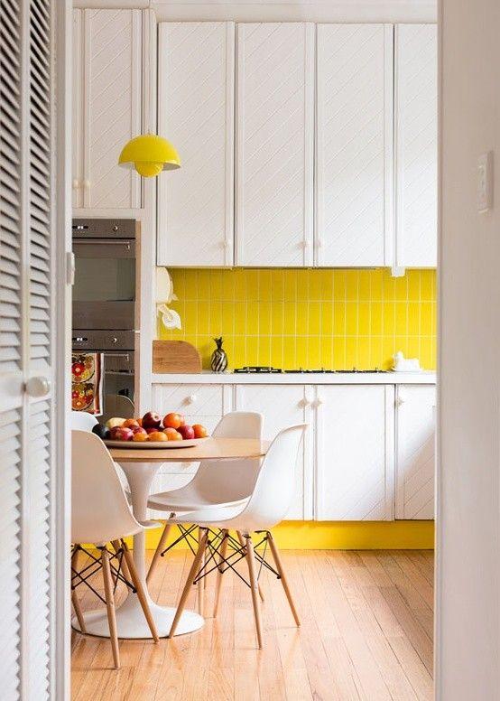 Carrelage Mural Traditionnel Ou Dosseret De Cuisine Moderne - Carrelage mural cuisine jaune pour idees de deco de cuisine