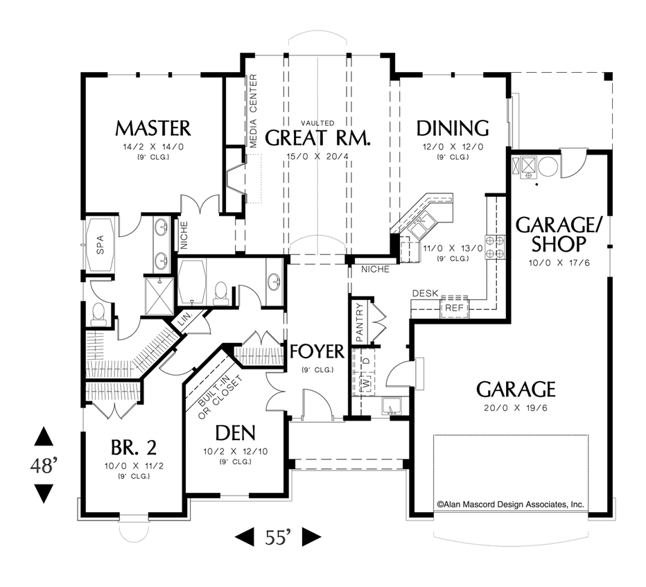 vaulted great room plan with light  plan 1149 the hayword