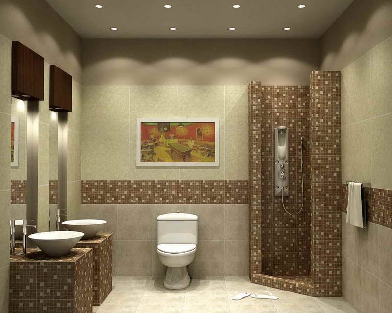 Nice Funky Bathroom Tile Paint Ideas For Modern Interior Design With Chic  Wall Mounted Sink