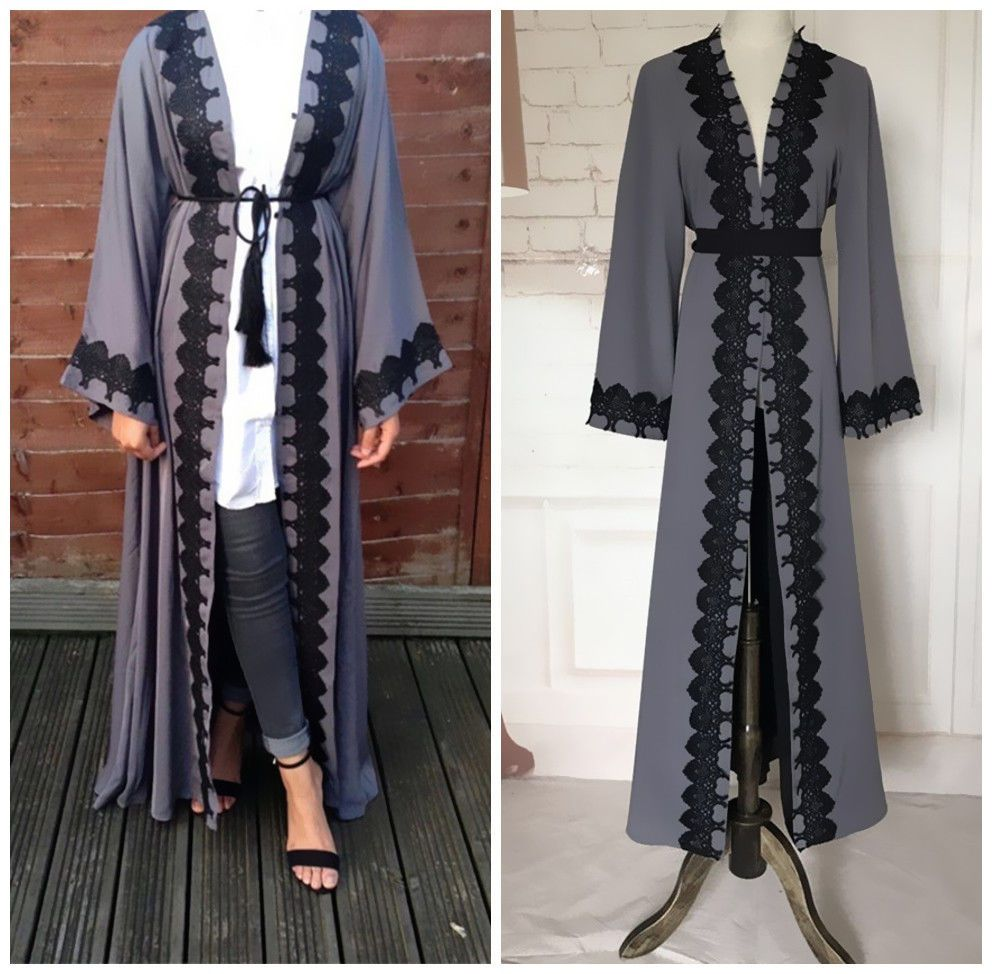 Dubia style women open front abaya jilbab muslim islamic long sleeve