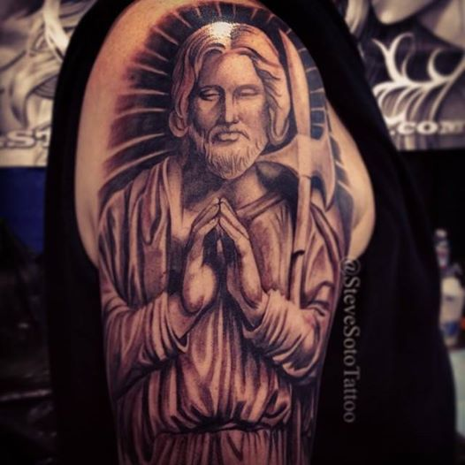 steve soto tattoo of st jude done at the high desert tattoo expo tattoo artist steve soto. Black Bedroom Furniture Sets. Home Design Ideas
