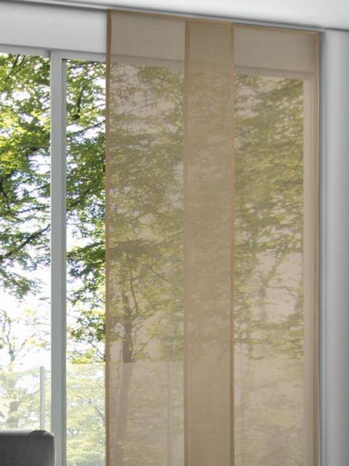 halbtransparenter einfarbiger fl chenvorhang in zur ckhaltenden bezaubernden taupe. Black Bedroom Furniture Sets. Home Design Ideas