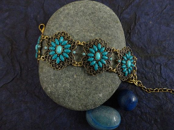 Blue Beads Delicate Chain Bracelet by OMyGlam on Etsy