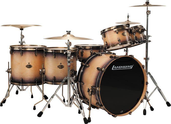 Ludwig Epic 6 Piece Pro Beat Drum Shell Pack W Vintage Bronze Rims Drums Drum Kits Acoustic Drum