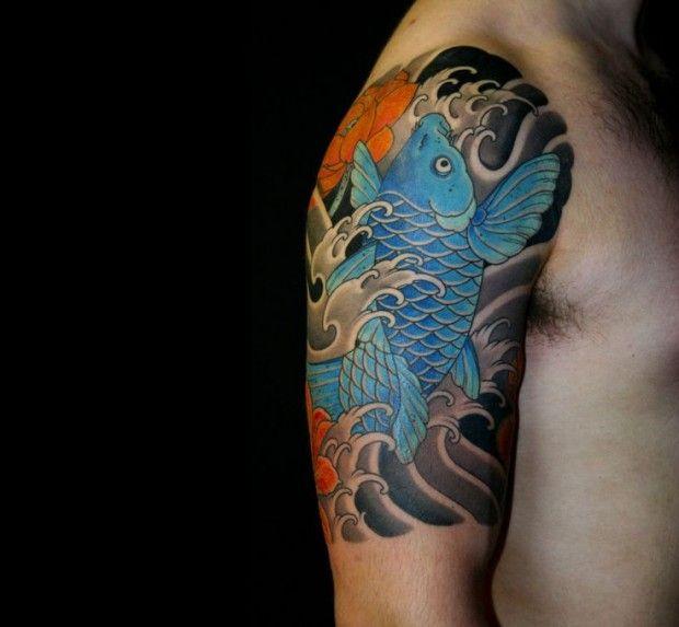 Blue Koi Fish On Half Sleeve Japanese Tattoos Half Sleeve Tattoo Koi Tattoo Sleeve Cool Half Sleeve Tattoos