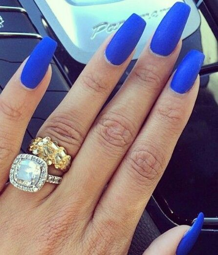 Royal Blue Matte Nails