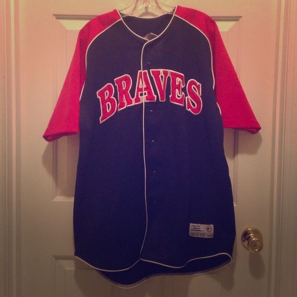 Atlanta Braves MLB JERSEY Atlanta Braves Baseball Jersey. The colors on the Jersey are red, navy blue, and white Tops