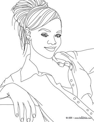 Beautiful Rihanna coloring page. More famous people