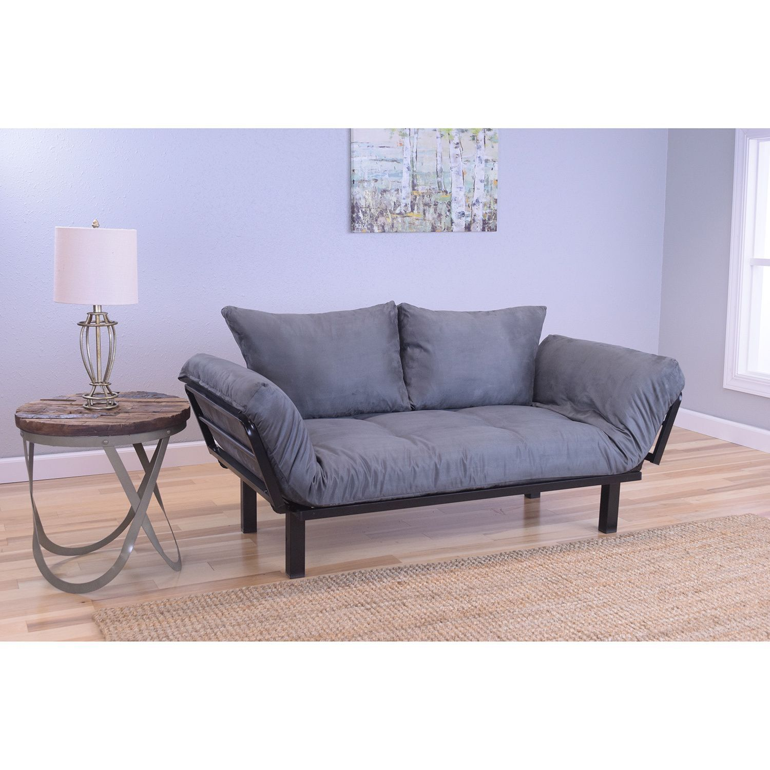 Somette Eli Spacely Daybed Lounger with Suede Grey Mattress (Black ...