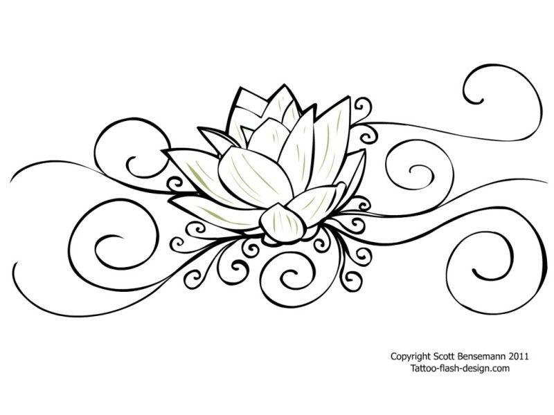 Super Lotus Flower Tattoo Design Outlines | color pages | Pinterest  OC47