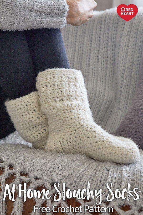At Home Slouchy Socks Free Crochet Pattern In Dreamy Yarn Leave
