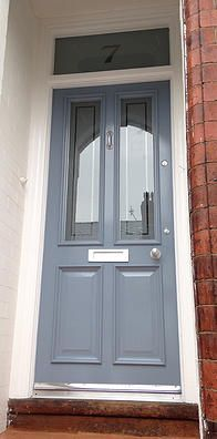 Traditional wooden Grand Victorian front door with 'Colourfilm Leaded' glazing #victorianfrontdoors Traditional wooden Grand Victorian front door with 'Colourfilm Leaded' glazing #victorianfrontdoors