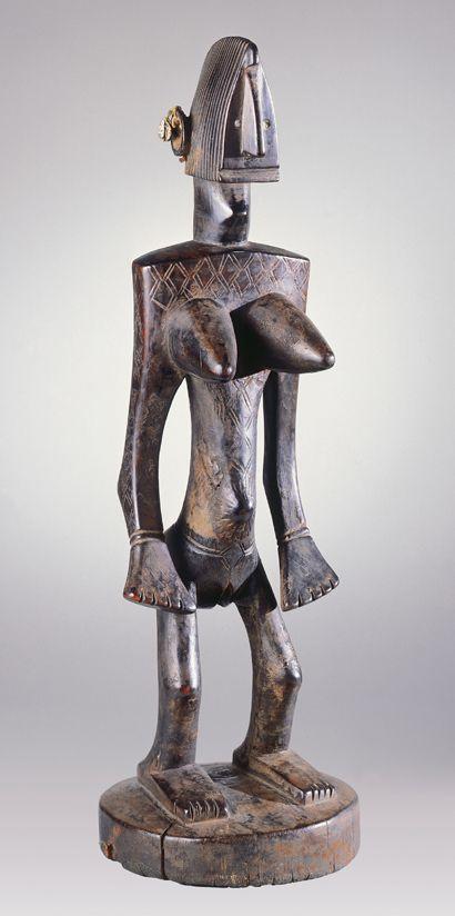 "Jo Society Standing Female Figure (Jonyeleni or Nyeleni) n.d. Bamana Peoples Wood, string, cowrie shell, iron 24"""